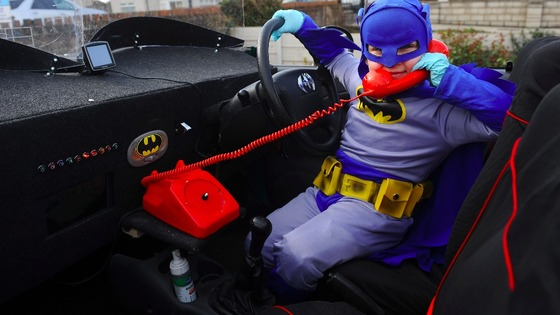 Alfie in Batmobile