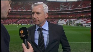 Alan Pardew talks to ITV ahead of his teams big Europa game in the Portuguese capital against Benfica