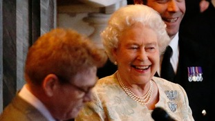 The Queen appeared amused by the accolade.