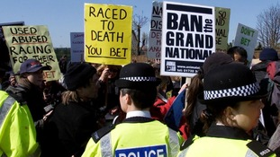 Animal welfare campaigners protest at Aintree