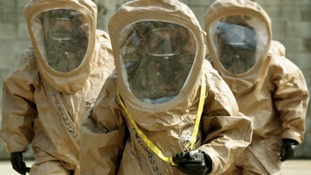 Soldiers of the US Army 23rd chemical battalion demonstrate their equipment