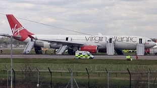 The plane on the runway at Gatwick Airport earlier