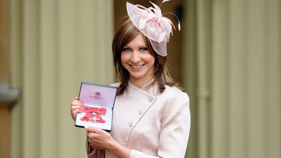 Joanna Rowsell after receiving her MBE at Buckingham Palace