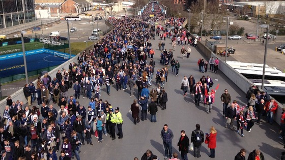 The Southend fans making their way up Wembley Way