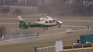 Air ambulance approaches Hexham race course