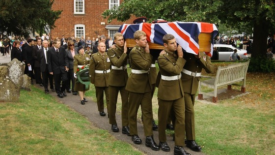 Sapper Smith&#x27;s coffin is carried to his funeral
