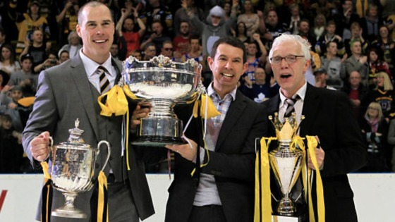 Nottingham Panthers&#x27; (left-right) head coach Corey Neilson, owner Neil Black and general manager Gary Moran