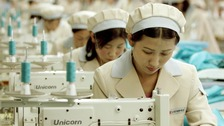 North Korean workers at a factory of South Korean shirt maker inside the Kaesong industrial park in 2005.