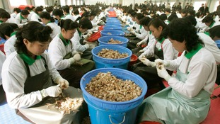 North Koreans work at a garlic processing factory owned by a South Korean company inside Kaesong, North Korea.