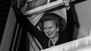 File photo dated 10th June 1983 of Prime Minister Margaret Thatcher waving to well-wishers after her election win