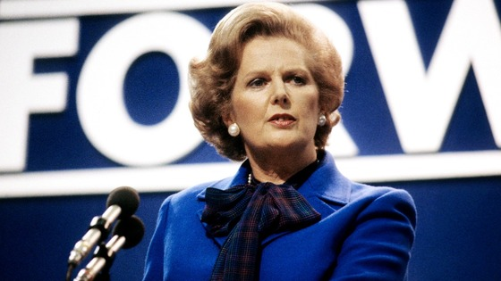 Prime Minister Margaret Thatcher addressing the Conservative Party Conference at Brighton in 1980