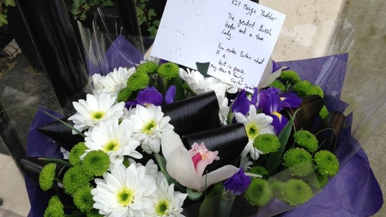 Flowers left outside Margaret Thatcher's Belgravia home