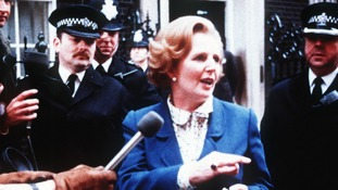 Prime Minister Margaret Thatcher arriving at 10 Downing Street in London after winning the general election