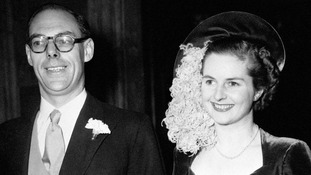 Margaret Roberts, 26, at her wedding Denis Thatcher