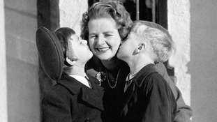 Margaret Thatcher being kissed by her twin children Mark and Carol soon after being elected MP for Finchley