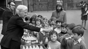 Free milk being handed out to pupils at Woodhill Junior Mixed School in Woolwich
