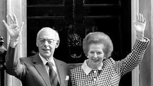 Prime Minister Margaret Thatcher and her husband Denis on the doorstep of 10 Downing Street following the 1979 general election.