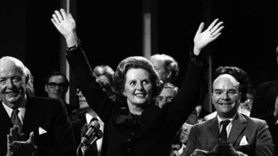 Thatcher acknowledging the standing ovation after her speech on the final day of the Conservative Party Conference