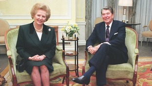 Thatcher with US President, Ronald Reagan in 1990