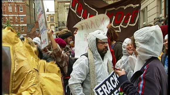 An anti-fracking protest