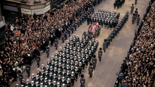 Sir Winston Churchill's funeral cortege on London's The Strand in 1965
