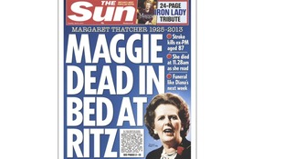 The Sun's front page marking Baroness Thatcher's death