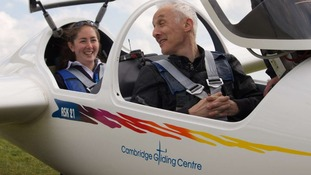 Gliding Club instructor Emilie House about to take to the air with Tim Levine