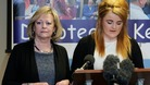 Ann Barnes, Kent Police and Crime Commissioner (left) stands next to Paris Brown as she announces her resignation.