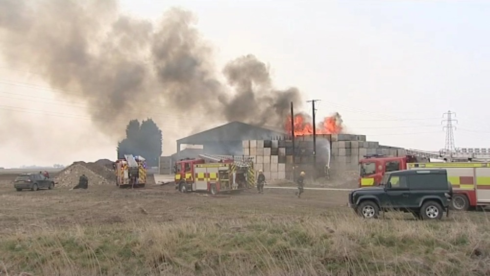 pictures of potato pallet fire in wisbech anglia itv news. Black Bedroom Furniture Sets. Home Design Ideas