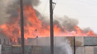 60 potato pallets on fire