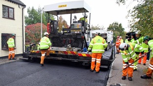 Resurfacing a road in Bedford