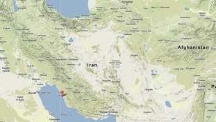 The town of Bushehr in south-western Iran is marked 'A'