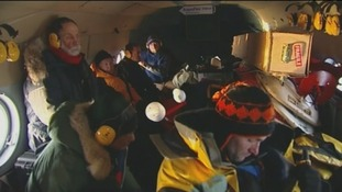 Lawrence McGinty among scientists travelling in a helicopter to the North Pole
