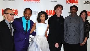 Django Unchained stars Christopher Waltz, Jamie Foxx, Kerry Washington, Quentin Tarantino, Samuel L Jackson