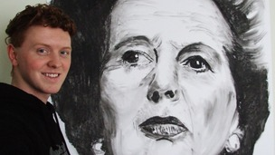 Margaret Thatcher portrait made of coal