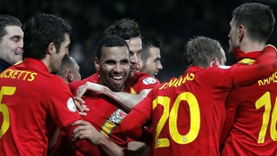 Hal Robson-Kanu celebrating his goal against Scotland