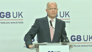 Foreign Secretary William Hague speaking to reporters at the end of the G8 talks in London