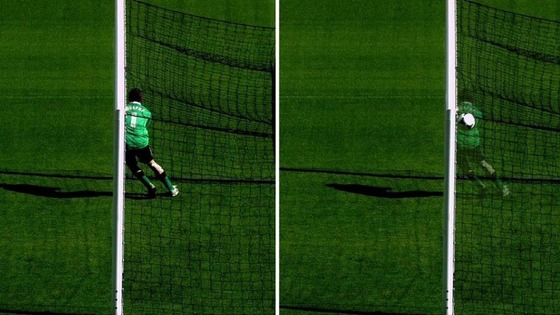 The goalkeeper is blocking the ball on the left, but the image on the right shows the ball using goal-line technology.