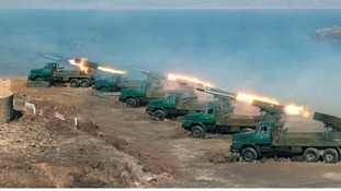 The North Korean army conducting an exercise last month, according to the (North) Korean Central News Agency.