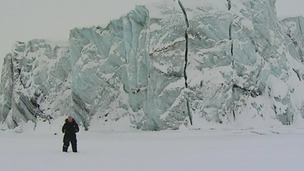 Science Editor Lawrence McGinty stands in front of a glacier in Svalbard, Norway
