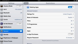 Screenshot of iPad settings