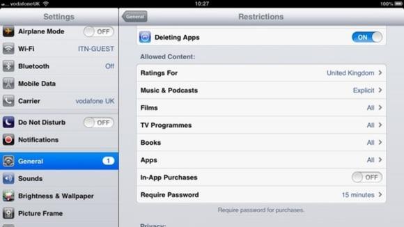 Screenshot of iPad settings