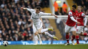 Gareth Bale tackled during the game