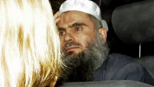 Abu Qatada is driven from Long Lartin Prison in South Littleton in February.