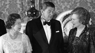 The Queen, Ronald Reagan and Margaret Thatcher pictured at Buckingham Palace in 1984.