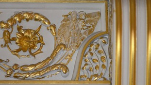 Baroness Thatcher's signature - a thatcher - is hidden among the gold leaf in the Terracotta Room.