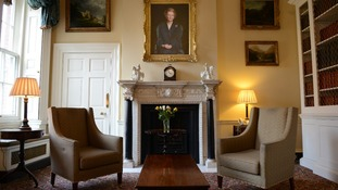 A portrait of Margaret Thatcher hangs in the study at Number 10 Downing Street.