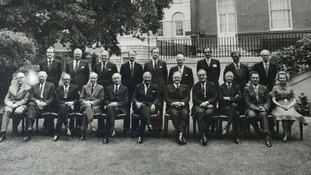 Margaret Thatcher (bottom right) sitting as Education and Science Secretary in Edward Heath's cabinet.