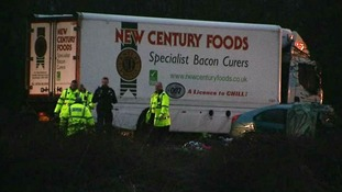 The driver of the lorry involved in the crash escaped with minor injuries
