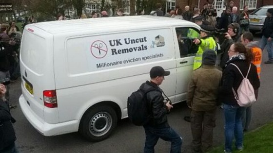 A UK Uncut removal van outside Lord Freuds home